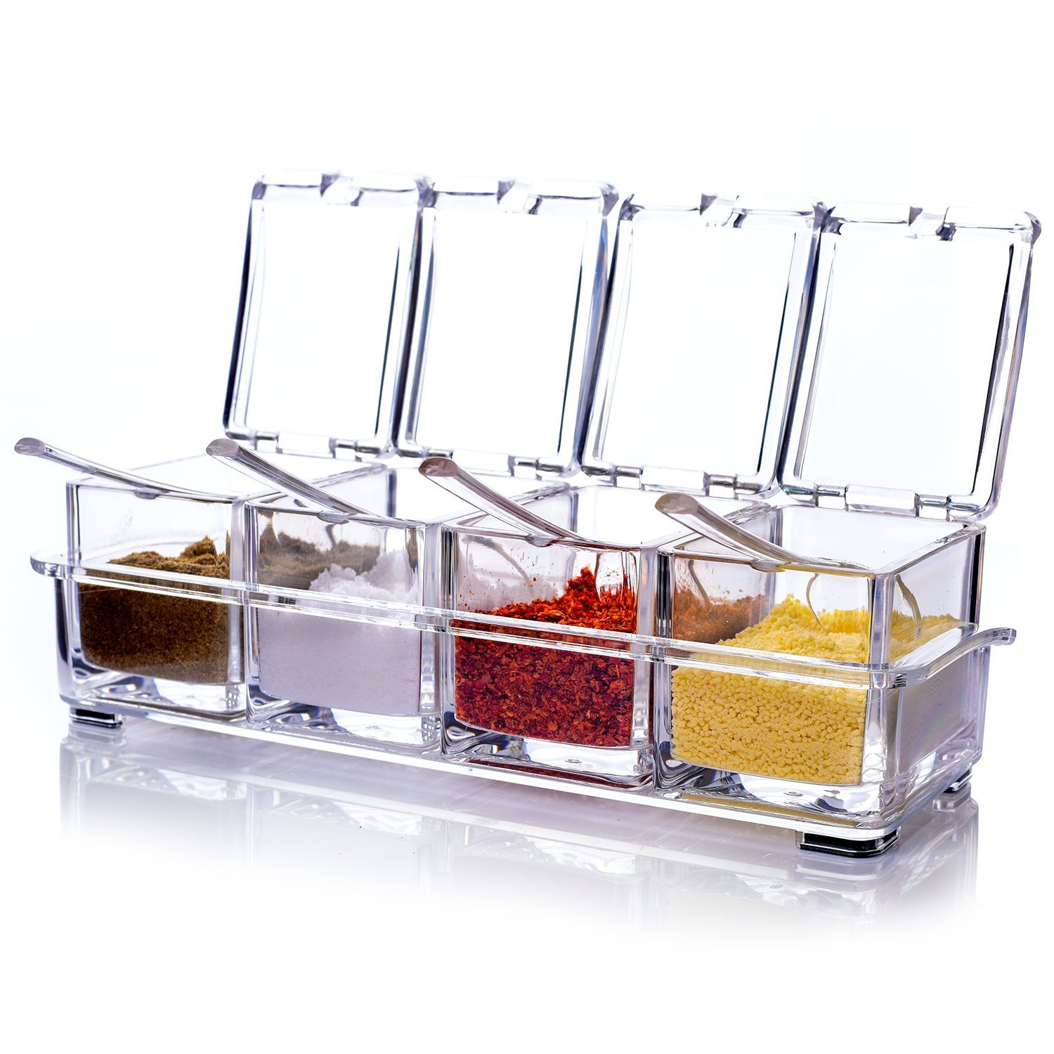 Transparent Acrylic Seasoning Box Four in One Spice Jars with Spoons and Covers for Kitchen Dining Generic
