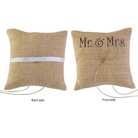 valink Señor & Mrs Burlap yute lazo cordel rústico anillos ...