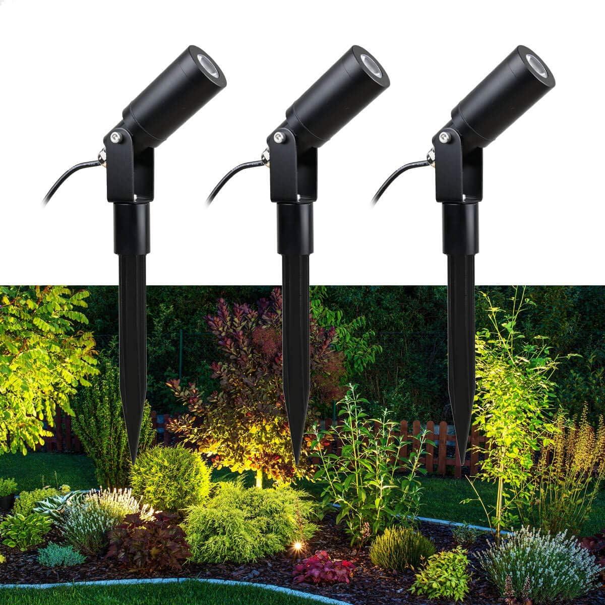 VBLED© Juego de 3 focos de jardín de 1 W con bombilla LED intercambiable, luz blanca cálida, 12 V CA/CC, IP68, 3000 K, 3 x 70 lúmenes: Amazon.es: Iluminación