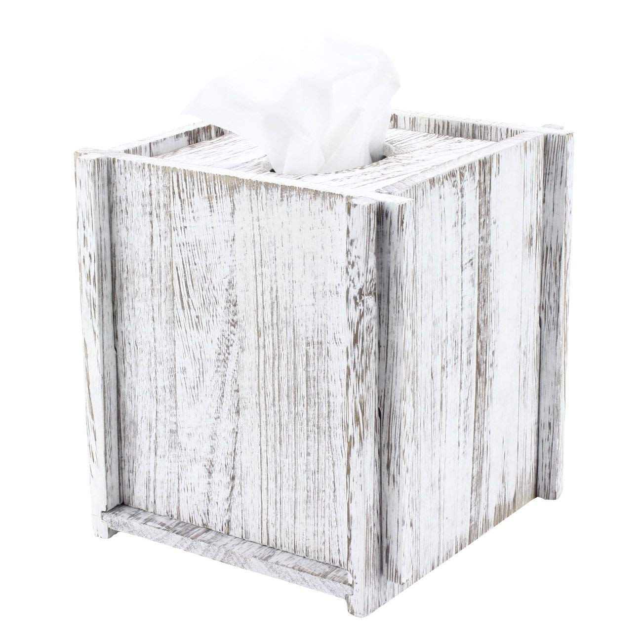Comtelek Tissue Box Cover Square Tissue Holder Wooden Rustic Torched Bathroom Facial Tissue Dispenser with Slide-Out Bottom Panel White Novelty Splicing Napkin Holder (Square) by Comtelek