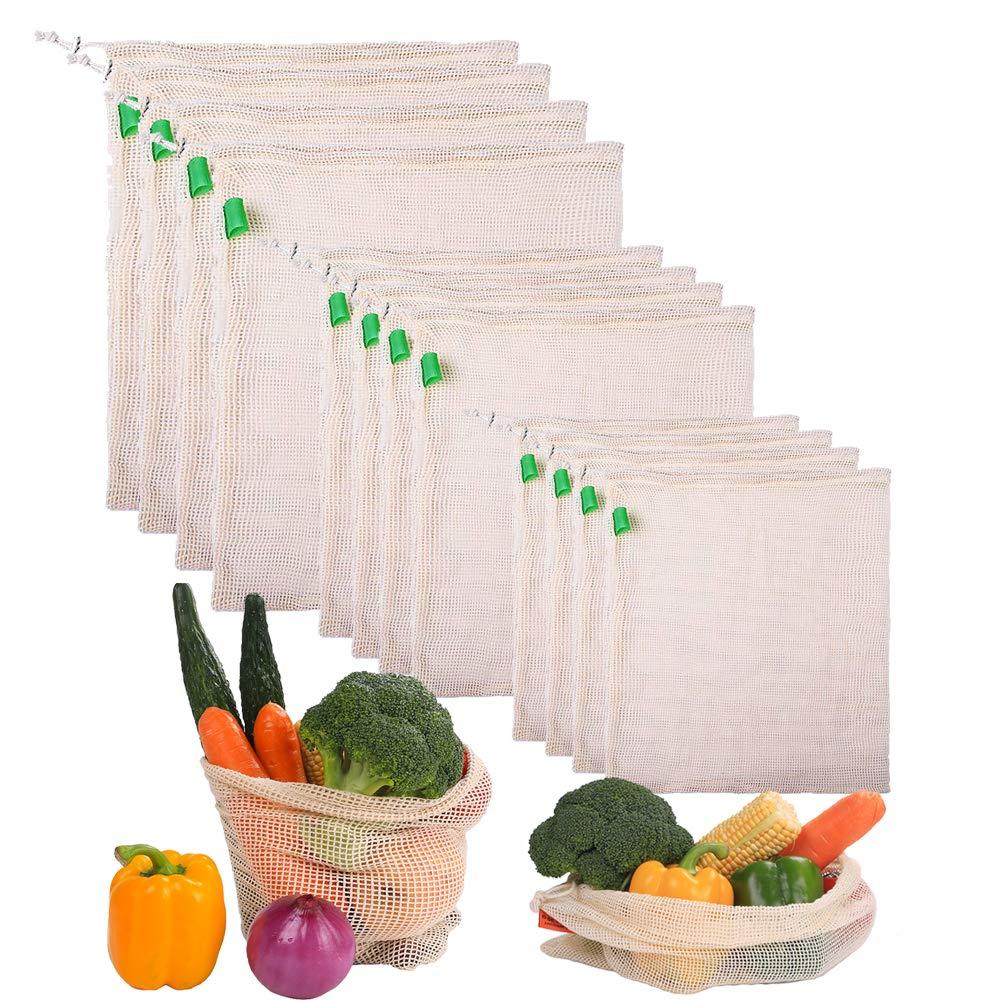 Gudotra 12 Piezas Bolsa de Algodón Practico para Vegetales Bolsa ...