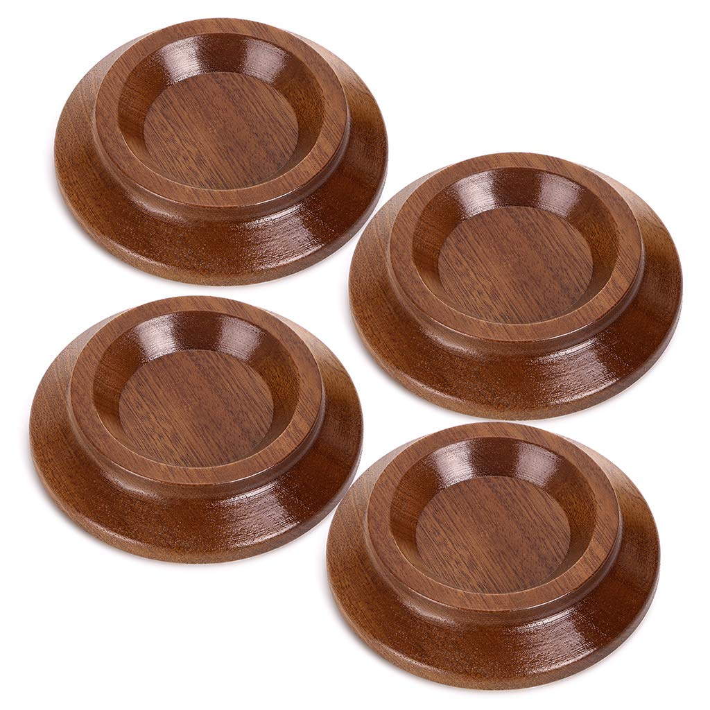 Skelang Piano Caster Cups Sapele Hardwood Furniture Wheel Caster Cups with Non-Slip EVA Protect Floor Carpet for Upright Piano