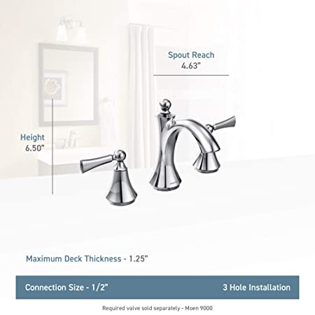 321af6db0ee Moen T4520 Wynford Two-Handle Widespread High-Arc Bathroom Faucet without  Valve
