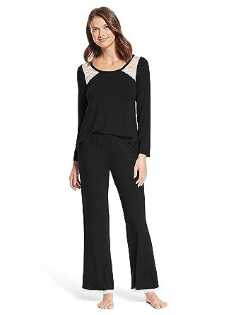 f731d608fe Kathy Ireland Womens 2 Piece Long Sleeve Lounge Shirt Pajama Pants Sleep Set  at Amazon Women s Clothing store