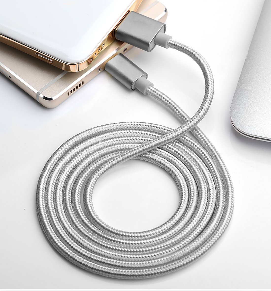 Quntis 3 Pack 6ft Android Charger Cable Nylon Braided Ultra Durable Micro USB Cables Gray QBUSB02