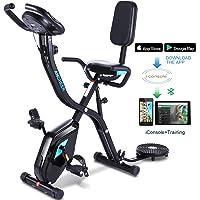 Profun - Bicicleta de fitness plegable con disco de deporte para los riñones, bicicleta de ejercicio en el interior, 10 niveles de resistencia magnética y asiento amplio y cómodo