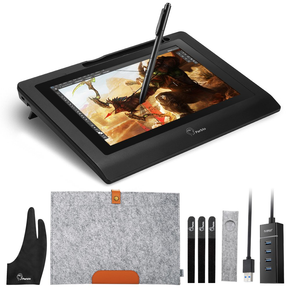 Parblo 10.1'' Coast10 Graphics Drawing Tablet LCD Monitor with Cordless Battery-Free Pen +Wool Liner Bag