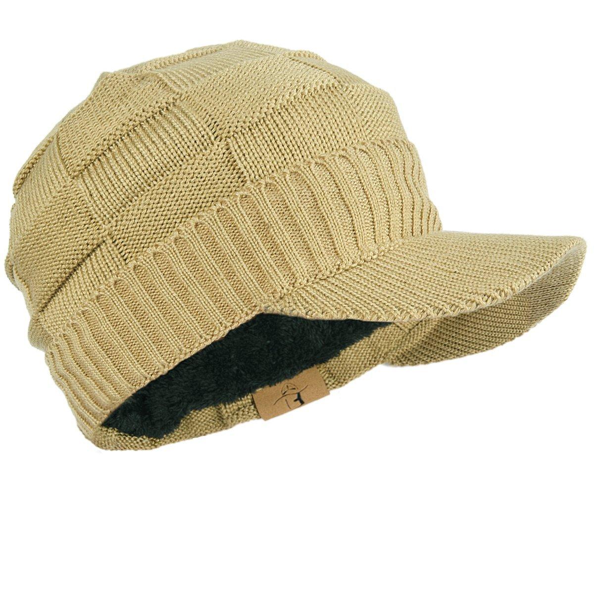 FORBUSITE Men Knitted Visor Beanie Hat for Winter B322-BK-B5042