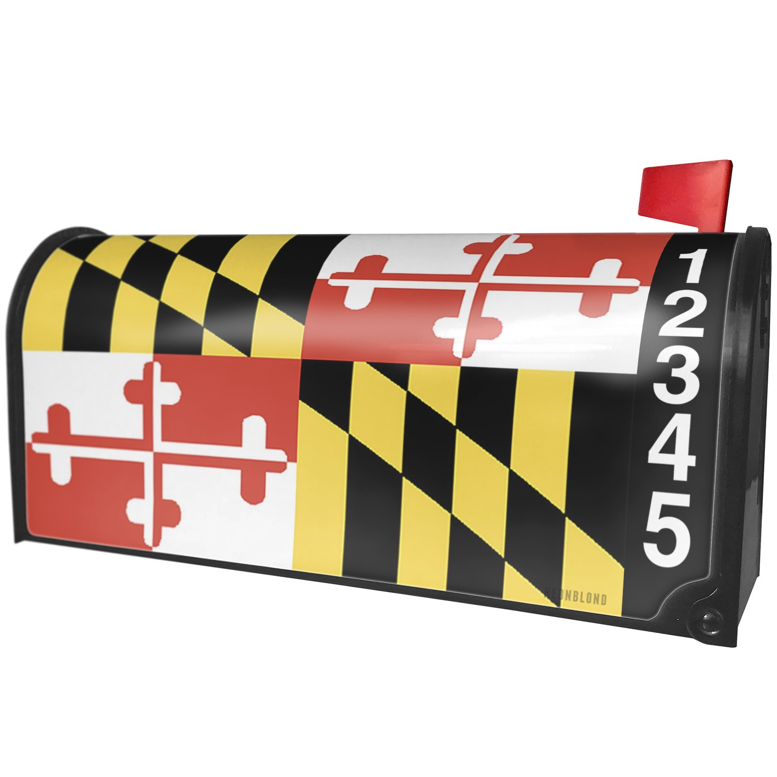 NEONBLOND Maryland Flag Region: America (USA) Magnetic Mailbox Cover Custom Numbers