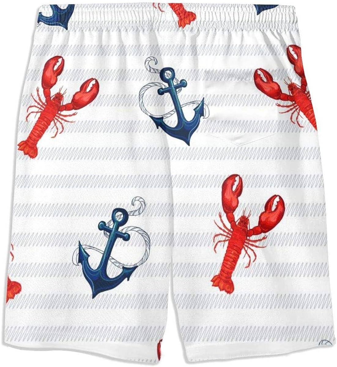 LION Underwear Real Men Marine Lobster Pattern Boys Quick Dry Swim Trunks Kids Beach Board Shorts Swimsuit Swimwear