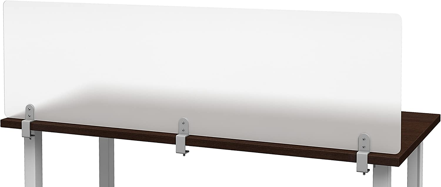 """VaRoom Studio Panel Desktop Privacy Panel – Frosted Acrylic Removable Clamp-on Desk Divider –60"""" W x 18""""H Partition"""