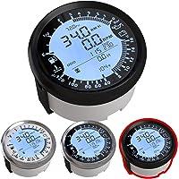 Atach - Velocímetro digital universal con GPS, tacómetro y multímetro, 6 funciones en 1 (85 mm), BLACK AND BLACK BEZEL