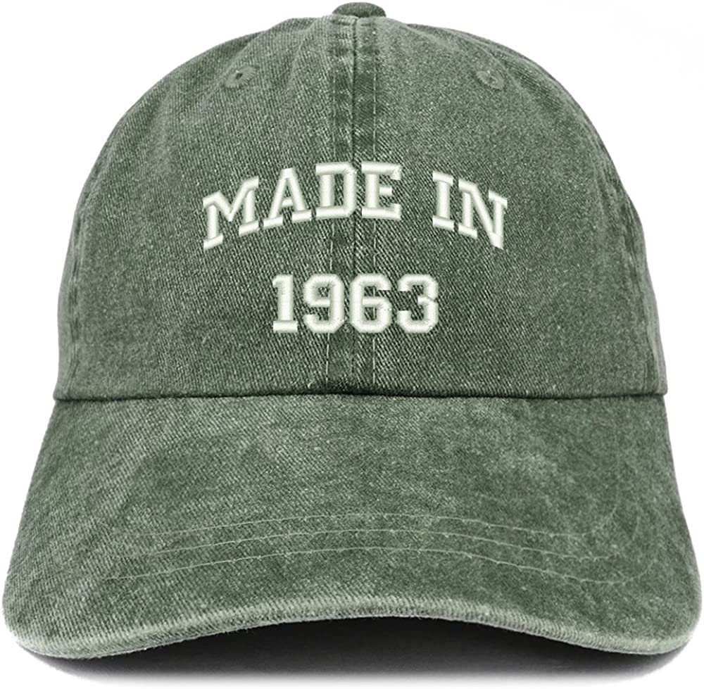 Trendy Apparel Shop Made in 1963 Text Embroidered 57th Birthday Washed Cap