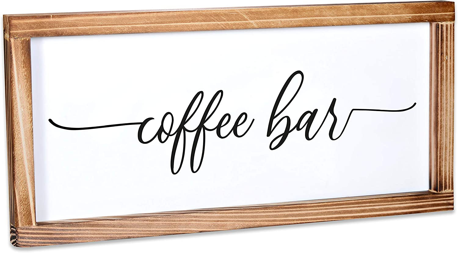 MAINEVENT Coffee Bar Sign - Rustic Kitchen Sign - Modern Farmhouse Kitchen Decor, Kitchen Wall Decor, Rustic Home Decor, Coffee Bar Decor with Solid Wood Frame 8x17 Inch