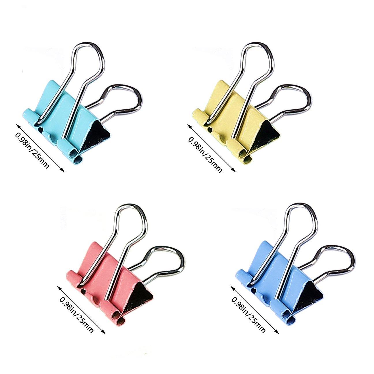 Pinces Papier M/étal Pinces Pour Reliure Color/é Clip Dovetail Pinces double clip Pinces /à Dessin pour la Fermeture de Sacs en Plastique Bureau Organiser S/écuriser des Documents 25mm 48 ensembles