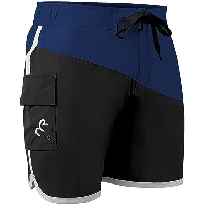 .com : TYR SPORT Men's Bulldog Diagonal Splice Boardshort, Black/Royal, Medium : Clothing