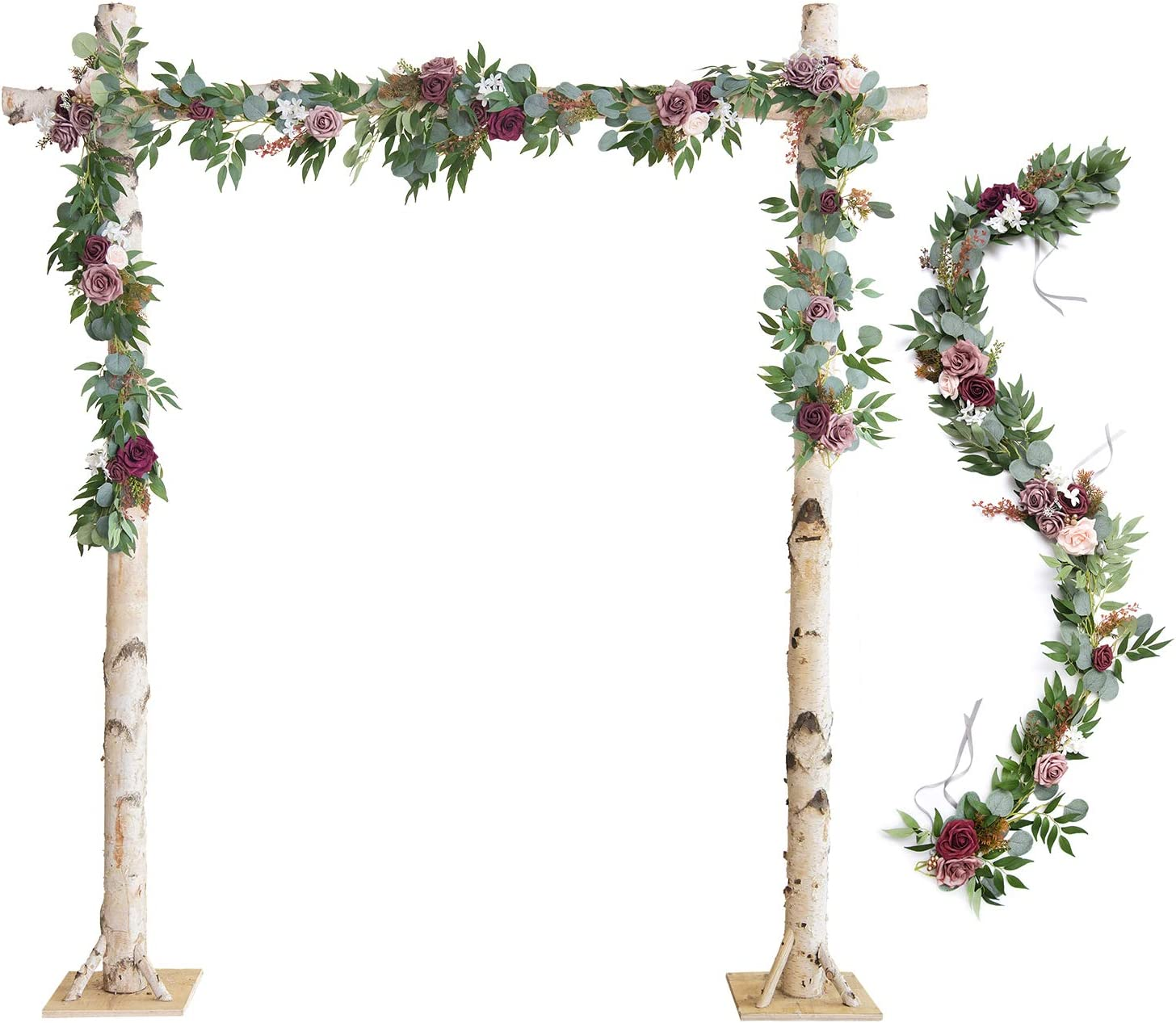 Ling's moment Wedding Arch Decor Flowers 2 Rows 6.5ft Burgundy Flower Garlands for Wedding Backdrop Ceremony Decorations