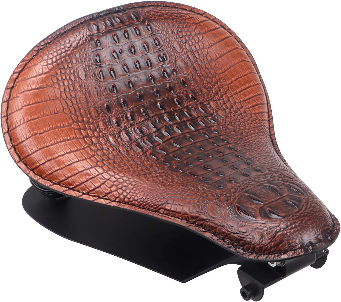 Black 13 Motorcycle Leather Solo Driver Seat Cushion Pad with Spring Bracket Base Mounting for Harley Davidson Sportster Softail Dyna Chopper Bobber