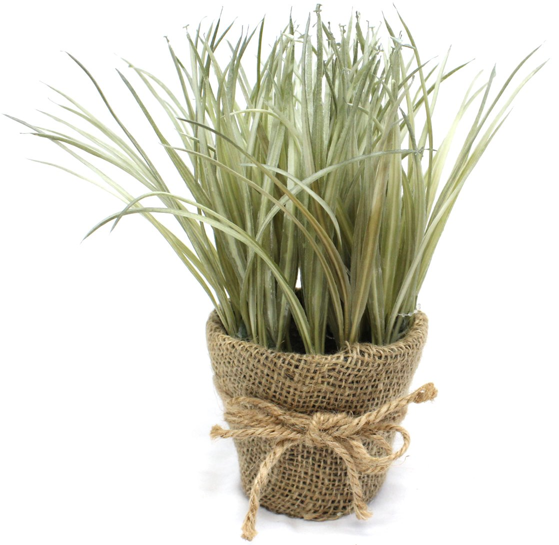 Artificial Plant Grass in Burlap Pot (Light Desert Green)