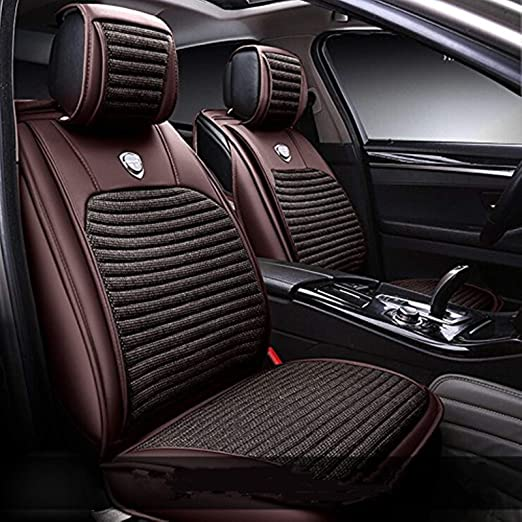 Amazon Com Leatherette Seat Covers Waterproof Breathable Full Set Front Back Cover Airbag Split Ready Home Kitchen