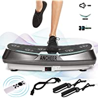 ANCHEER Profi Vibrationsplatte mit 2 Leistungsstarke Motoren, 3D Vibrationsger?te Fitness, einmaligen Curved Design, Color Touch Display, inkl. Trainingsb?nder, Fernbedienung