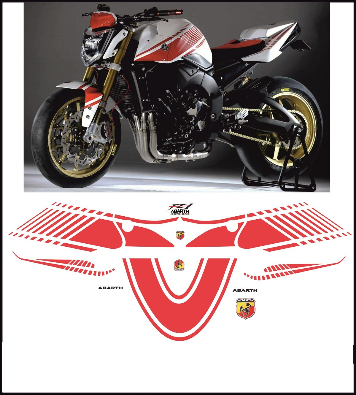 Kit adesivi decal stickers yamaha fz1 abarth ability to customize the colors amazon ca automotive