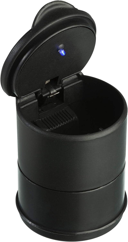 Cenicero del Coche con LED Azul - Portavasos de Plástico para Cenicero con Tapa y LED - Cenicero de Vehículos - de TRIXES