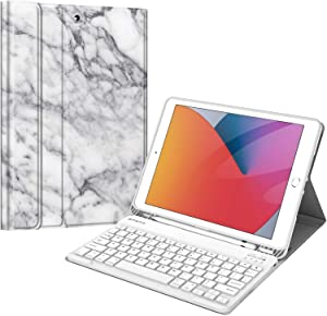 Fintie Keyboard Case for New iPad 8th Gen (2020) / 7th Generation (2019) 10.2 Inch, Soft TPU Back Stand Cover with Pencil Holder, Magnetically Detachable Wireless Bluetooth Keyboard, Marble White