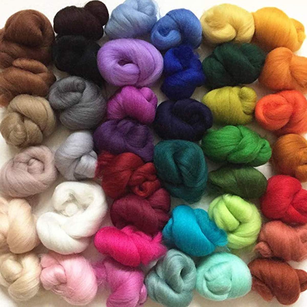 SUPVOX 40 colores Merino Felting Tops de lana de fibra de lana ...