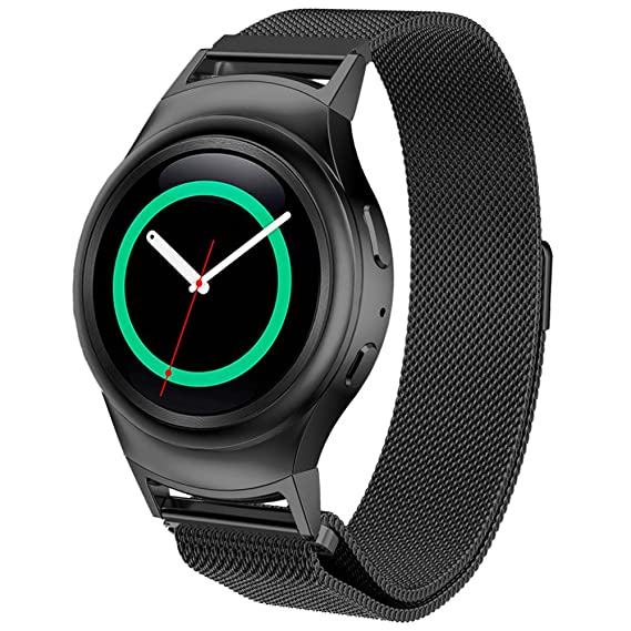 DBMOOD Mesh Watch Band for Samsung Gear S2 RM-720 Smart Watch,Stainless Steel,4 Color,8.26 Inches Black