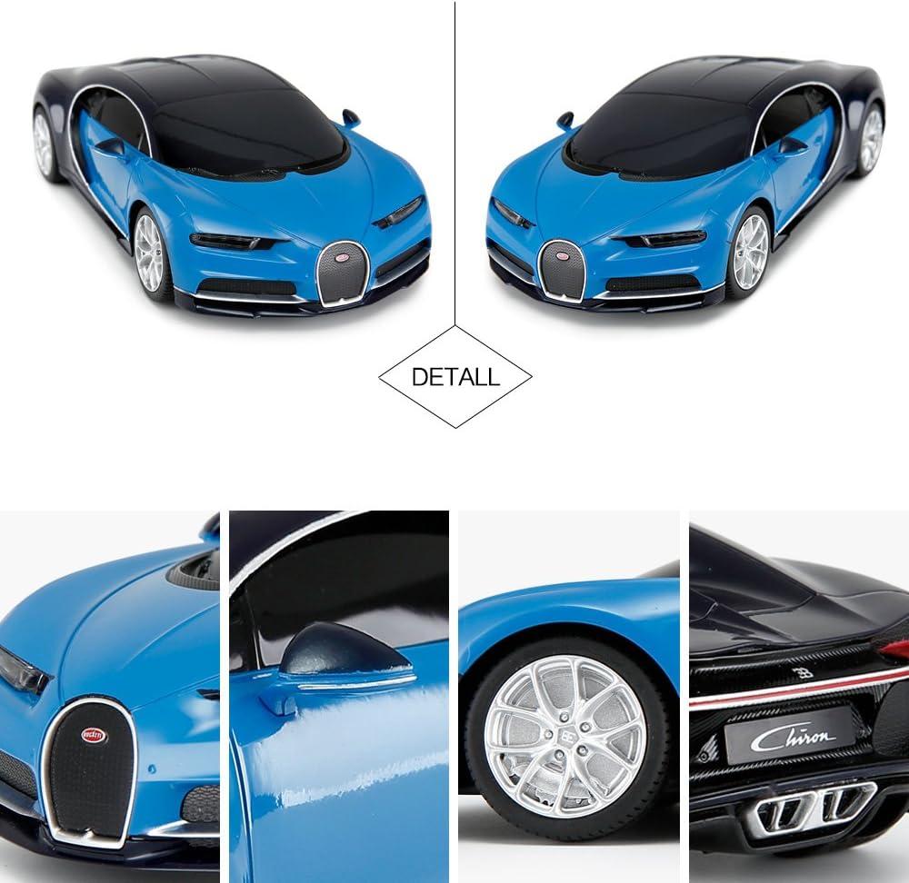 Amazon Com Rastar Bugatti Veyron Chiron Rc Car 1 24 Scale Remote Control Toy Car Bugatti Chiron R C Model Vehicle For Kids Blue Toys Games