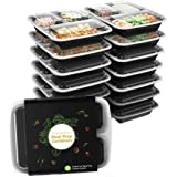 PanXeal 15 Pieces Meal Prep Containers 3 Compartment with Lids Bpa Free Stackable Reusable Portion Control Lunch Box Microwave&Dishwasher&Freezer Safe Food Storage (1000ml)