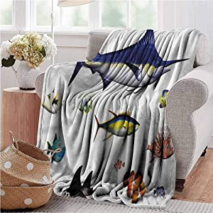 Yoga Blanket Aquarium, Hawaiian Pacific Fauna All Season Throw Blanket for Home Bed Blankets 50 x 70 Inch
