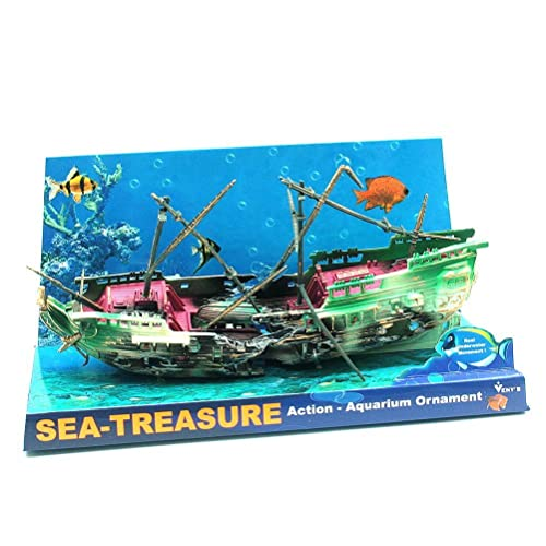 Sunken ship air action aquarium ornament