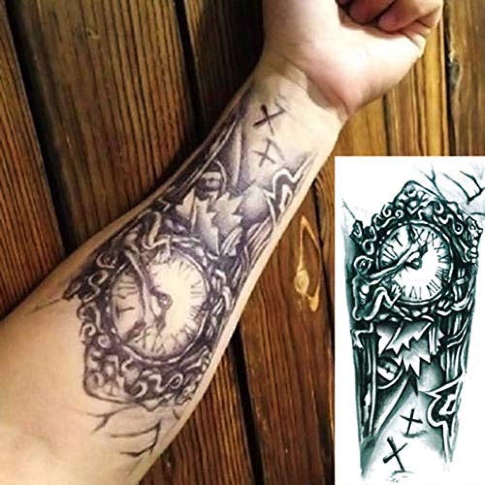 Negro 3D Sexy Transferencia Falsa Tatuaje Pecho Reloj Tatoos Para ...