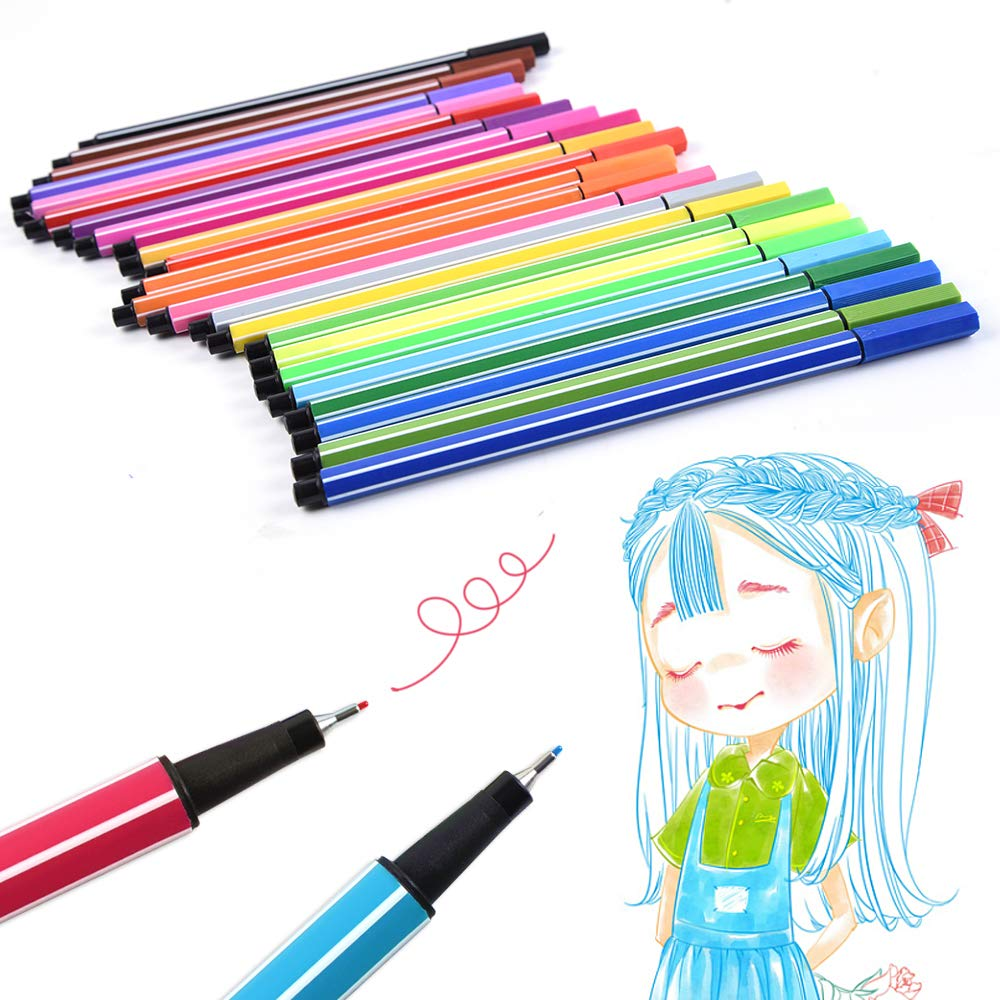 Art Markers for Adult Coloring Books with Fineliners 100 Colors Marker Pens Drawing 1-2mm Calligraphy Painting Sketching Dual Tip Brush Pens 0.4mm