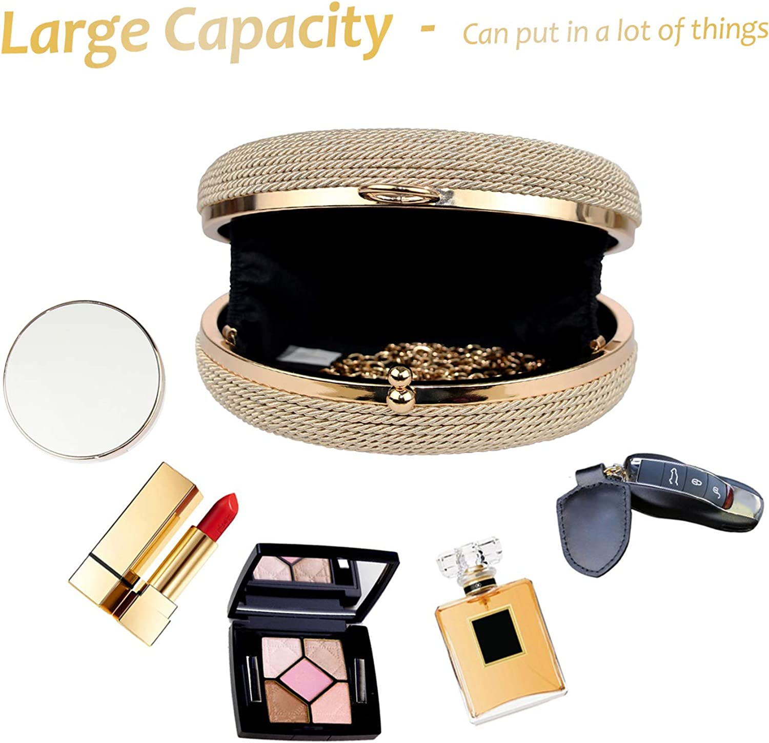 K.T.Fancy Straw Clutch Purses for Women Evening Bags With Detachable Chain Strap for Beach Wedding Party