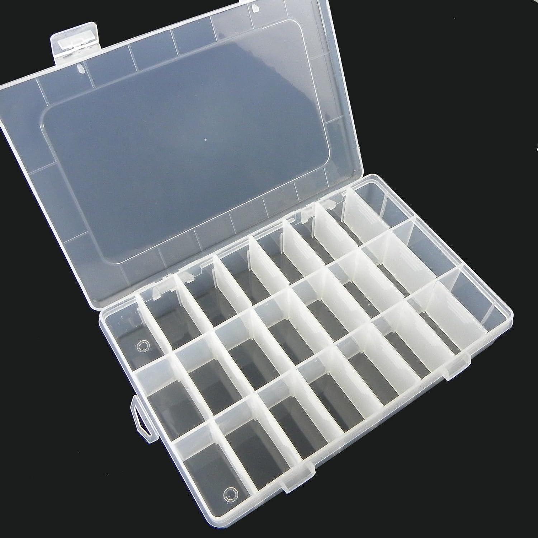Dealglad® New Plastic Transparent 10/15/24 Grid Slot Jewelry Pill Beads Holder Organizer Containers Storage Case Box (10)