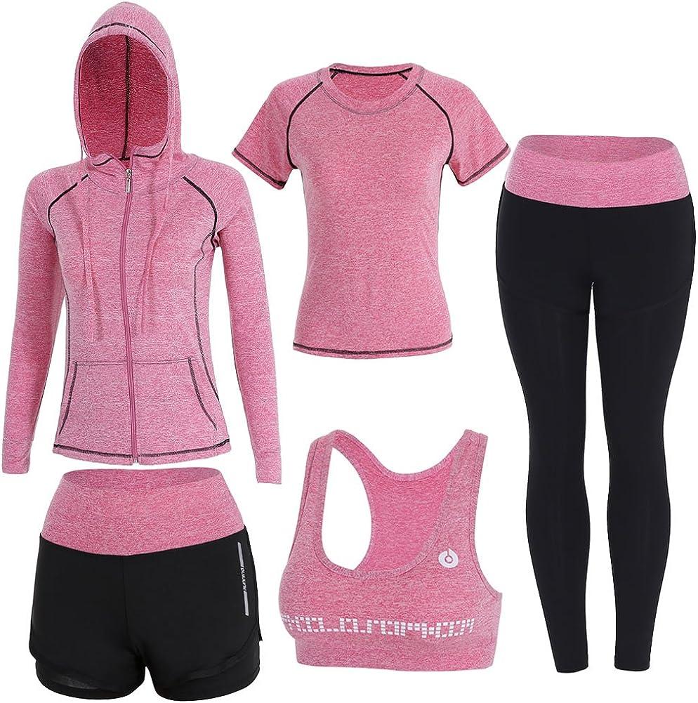 BOTRE 5 Piezas Conjuntos Deportivos para Mujer Chándales Ropa de Correr Yoga Fitness Tenis Suave Transpirable Cómodo
