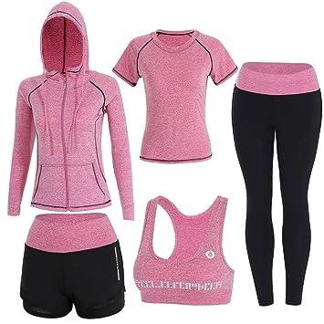 comprar nuevo calidad perfecta reputación confiable Sokaly 5 Piezas Conjuntos Deportivos para Mujer Chándales Ropa de Correr  Yoga Fitness Tenis Suave Transpirable Cómodo