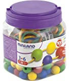 Miniland Educational 154214 - Bote con bolas ensartables 20 mm, 100 piezas