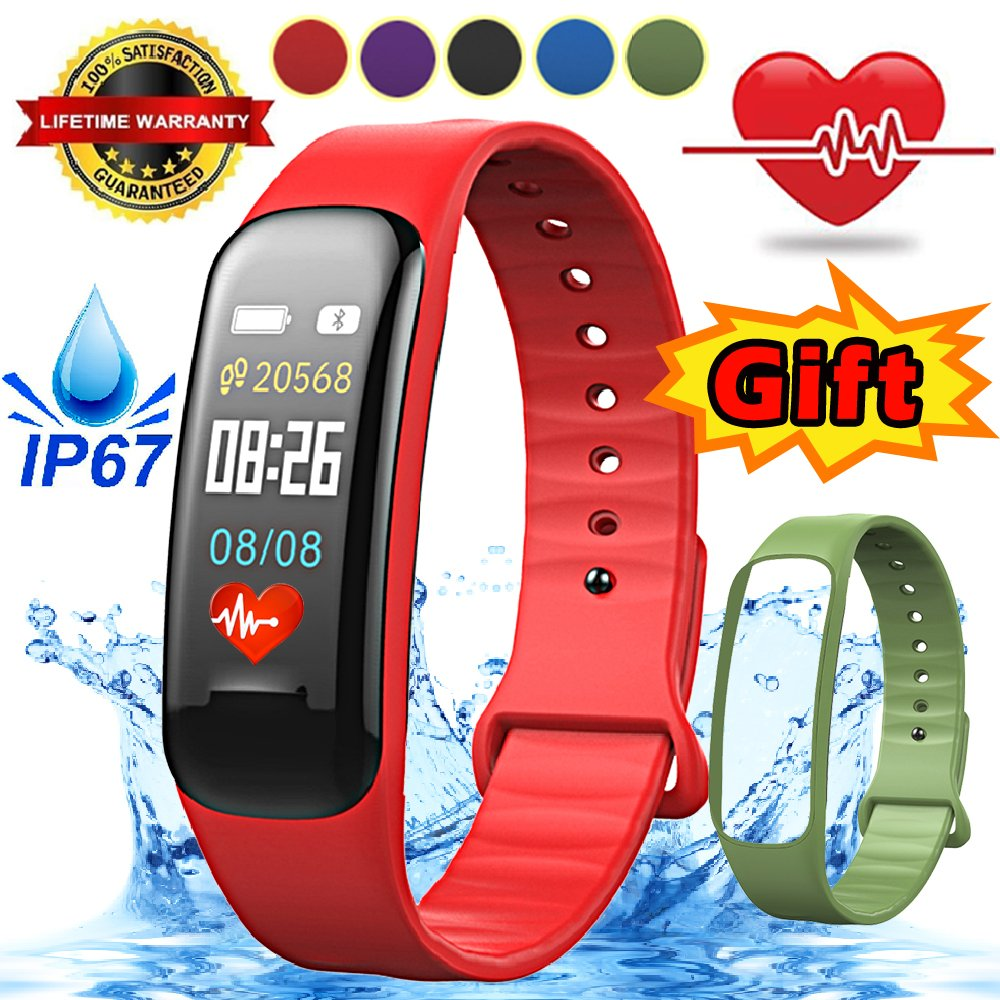 igeekid Fitness Tracker with Heart Rate Sleep Monitor Bluetoothスマートブレスレット腕時計ip67防水歩数計Smartband Activity TrackerリストバンドGifts for Android IOS電話 B07CVV1VS4 レッド レッド