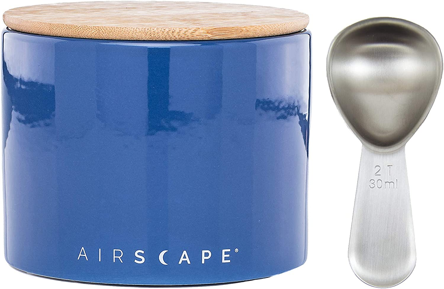 Airscape Ceramic Coffee and Food Storage Canister with Scoop - Patented Airtight Inner Lid Releases CO2 and Preserves Food Freshness - Glazed Ceramic with Bamboo Top - 4