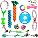12 Pack Durable Dog Chew Toys Puppy Pet Toys, Including 2 Puppy Teething Toys 1 Frisbee 1 Colorful Ball with Bell 1 dog ball toys rope and 7 Dog Ropes Toys Value Pack for Small and Medium Dogs