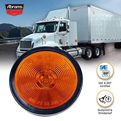 "Abrams 2.5"" Amber 13 LED Side Marker Trailer Lights [Waterproof] Round Clearance Light [2 in 1 Reflector] [Polycarbonate Reflector] For Trucks & Trailers [SAE/DOT Certified] [IP67 Submersible] 1 Pack: Automotive"