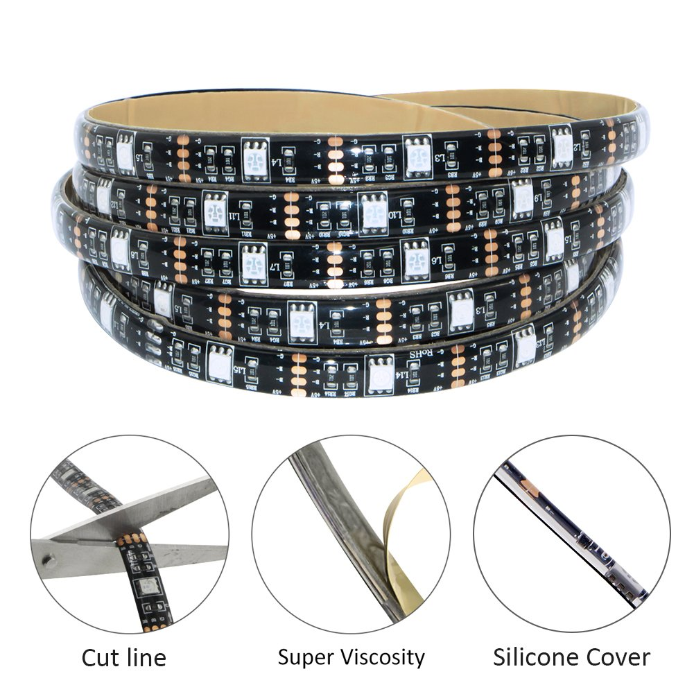 Led Strip Lights Battery Powered,abtong RGB Led Lights Strip with Mini Controller Waterproof Led Strip Rope Lights Battery Led Lights Multi Color Changing Lights-2M/6.56ft
