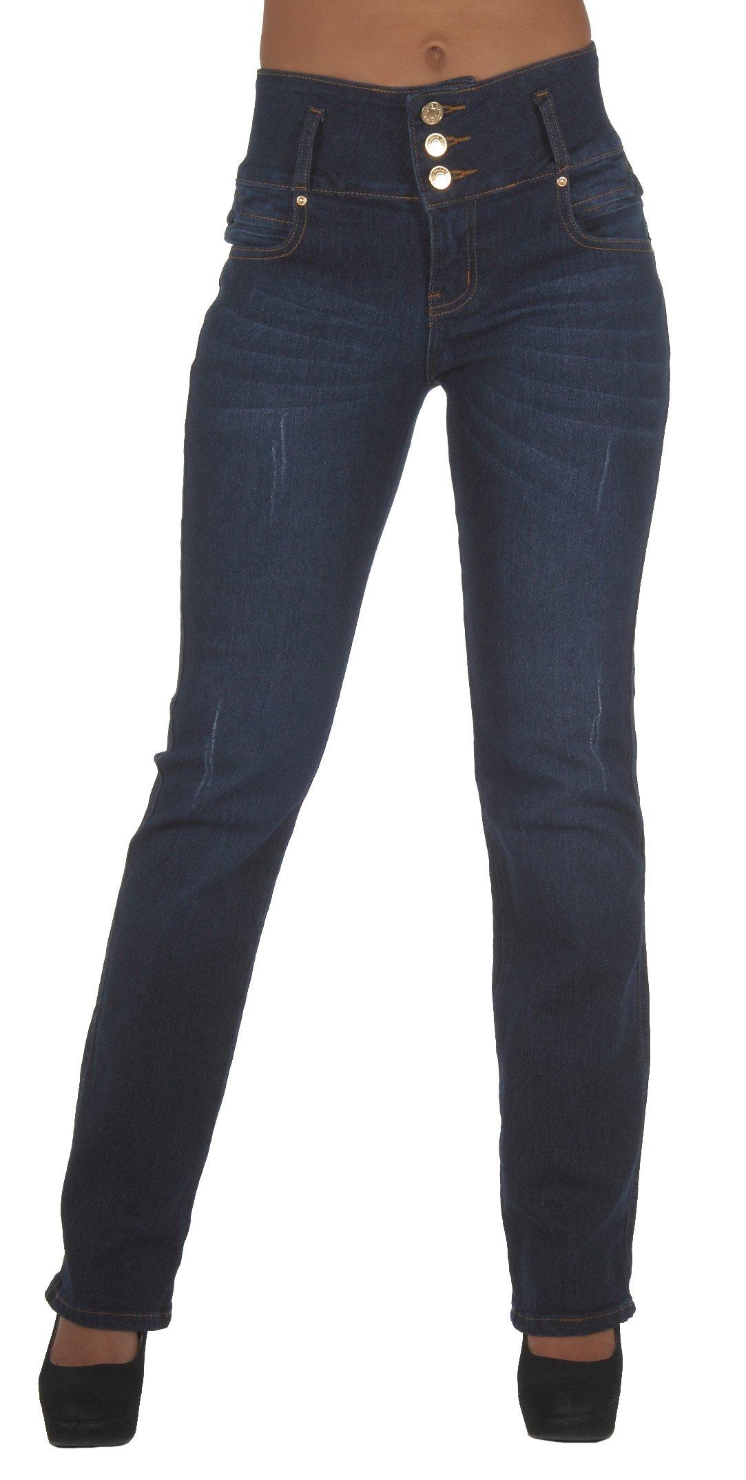 Diamante Style N491BT– Colombian Design, Butt Lift, Stretch Boot Leg Jeans in Dark Blue 5