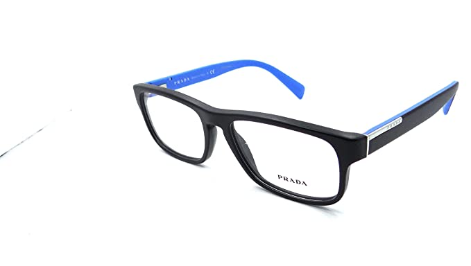 63019a653869 Prada Rx Eyeglasses Frames Vpr 07P 1bo-1o1 54x17 Matte Black   Blue Italy   Amazon.co.uk  Clothing