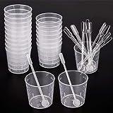 WXJ13 20 Bicchieri Graduati da 60 ml in plastica Polipropilene Trasparente con 20 Barre di Fissaggio per mescolare Vernice, Macchie, Resina epossidica