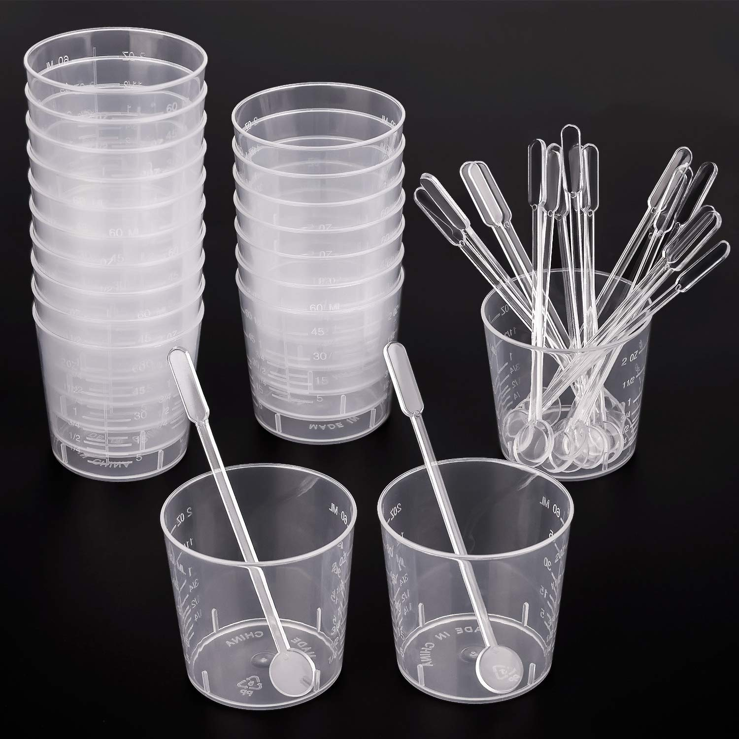 WXJ13 20 Pack 60 ml Transparent Polypropylene Plastic Graduated Cups 20 Stiring Bars Mixing Paint Stain Epoxy Resin